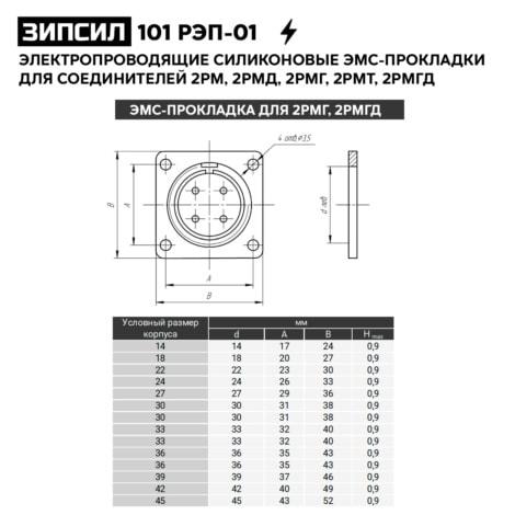 Электропроводящие силиконовые ЭМС-уплотнительные прокладки для разъемов 2РМГ, 2РМГД - ЗИПСИЛ 101 РЭП-01 (чертеж)