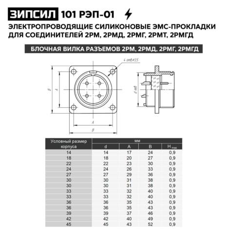 Электропроводящие силиконовые ЭМС-уплотнительные прокладки для разъемов 2РМ, 2РМД, 2РМГ, 2РМТ, 2РМДТ, 2РМГД - ЗИПСИЛ 101 РЭП-01 (чертеж)